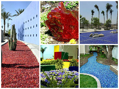 Landscape glass landscaping glass mulch mulch for Different color rocks for landscaping